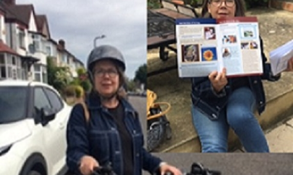 Sally getting on her bike to deliver the latest Deep Dementia News